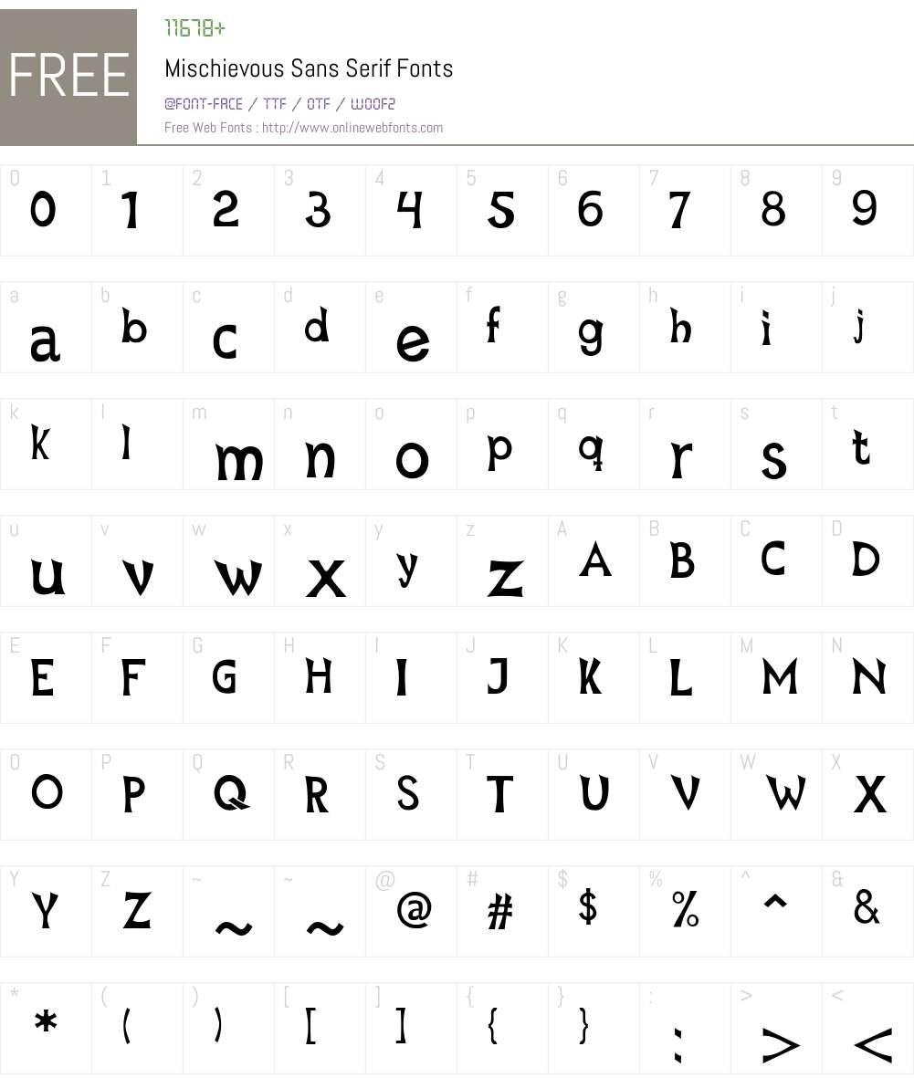 Mischievous Font Screenshots