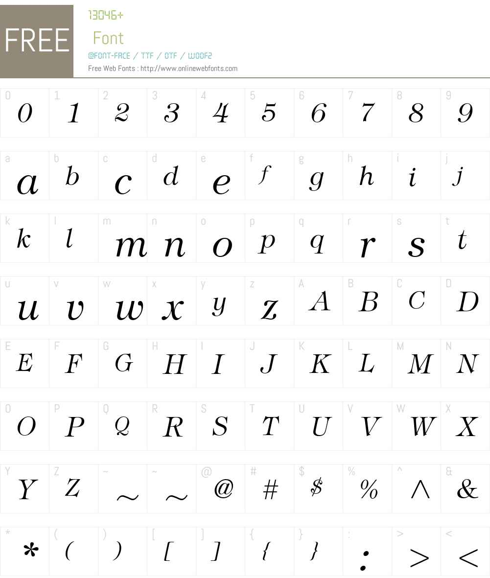 ITCTiffanyW01-LightItalic Font Screenshots