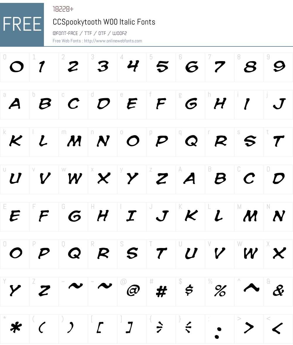 CCSpookytoothW00-Italic Font Screenshots