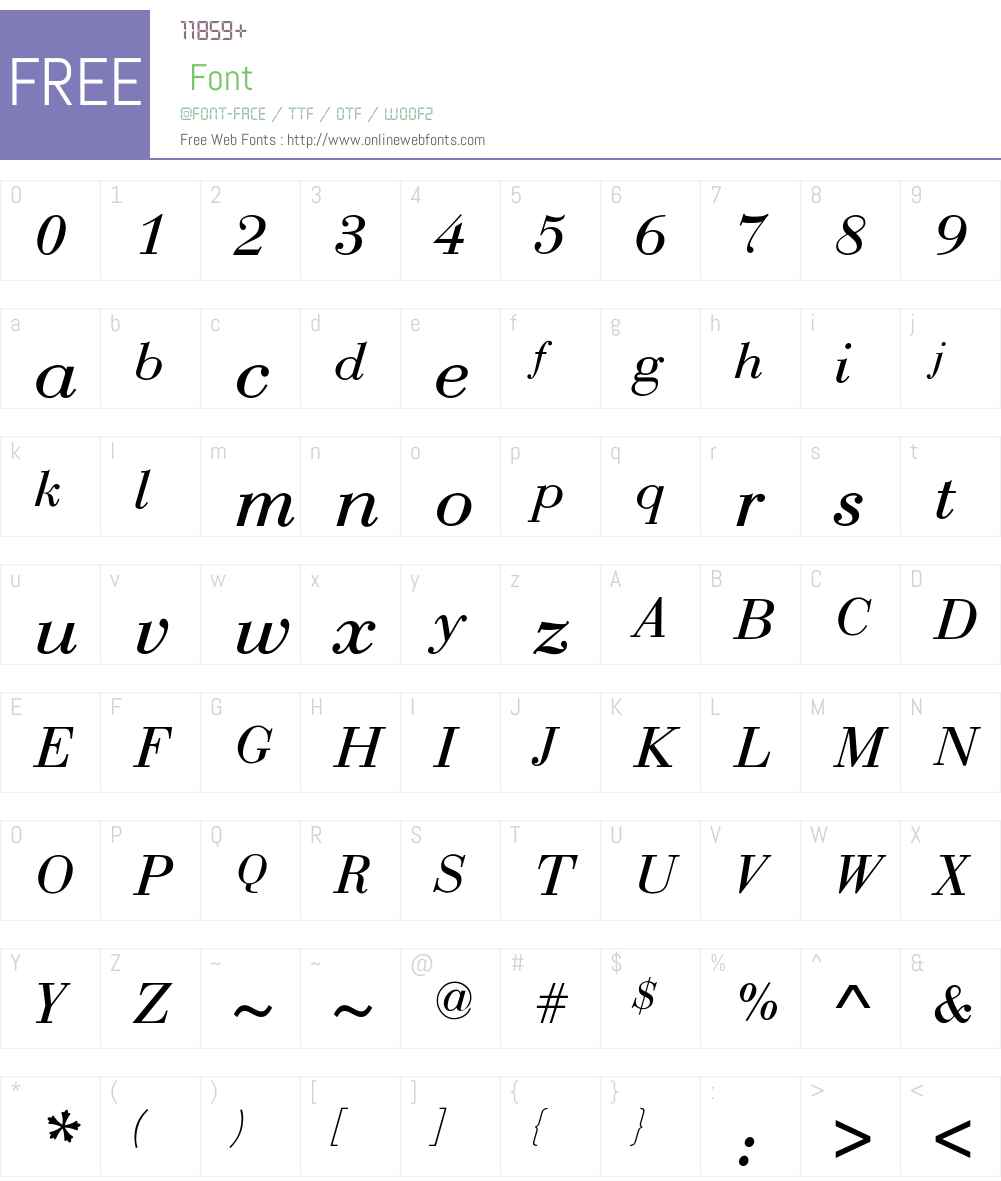 Bodoni-Normal-Italic Font Screenshots