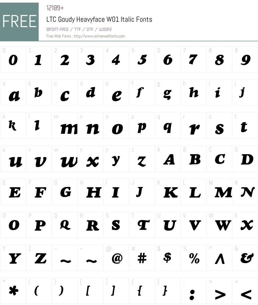 LTCGoudyHeavyfaceW01-Italic Font Screenshots