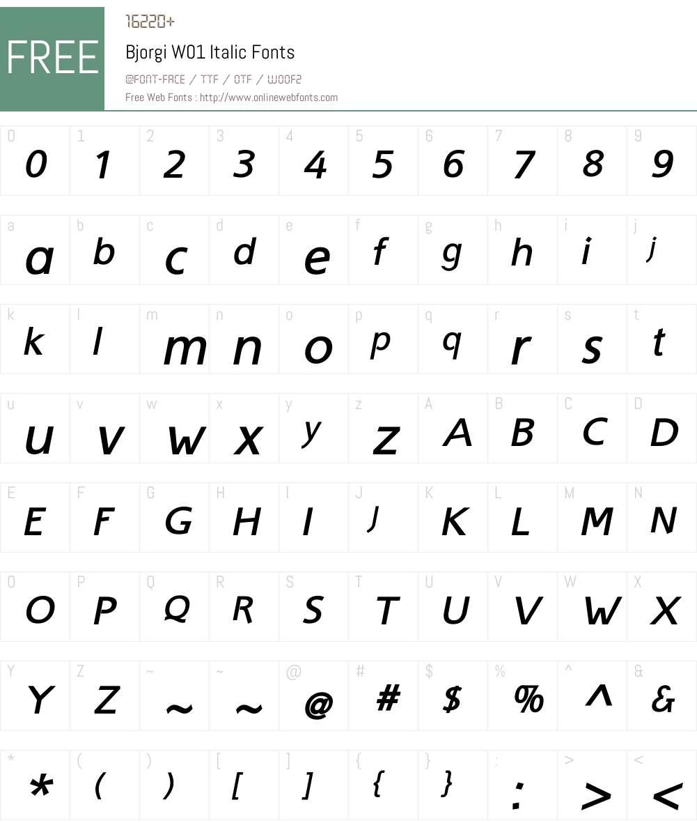 BjorgiW01-Italic Font Screenshots