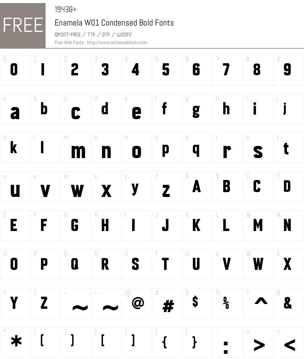 EnamelaW01-CondensedBold Font Screenshots