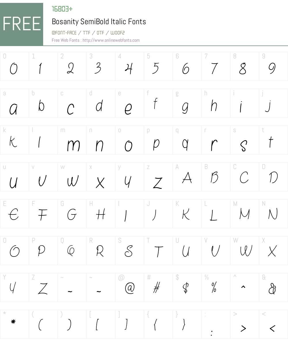 Bosanity SemiBold Italic Font Screenshots