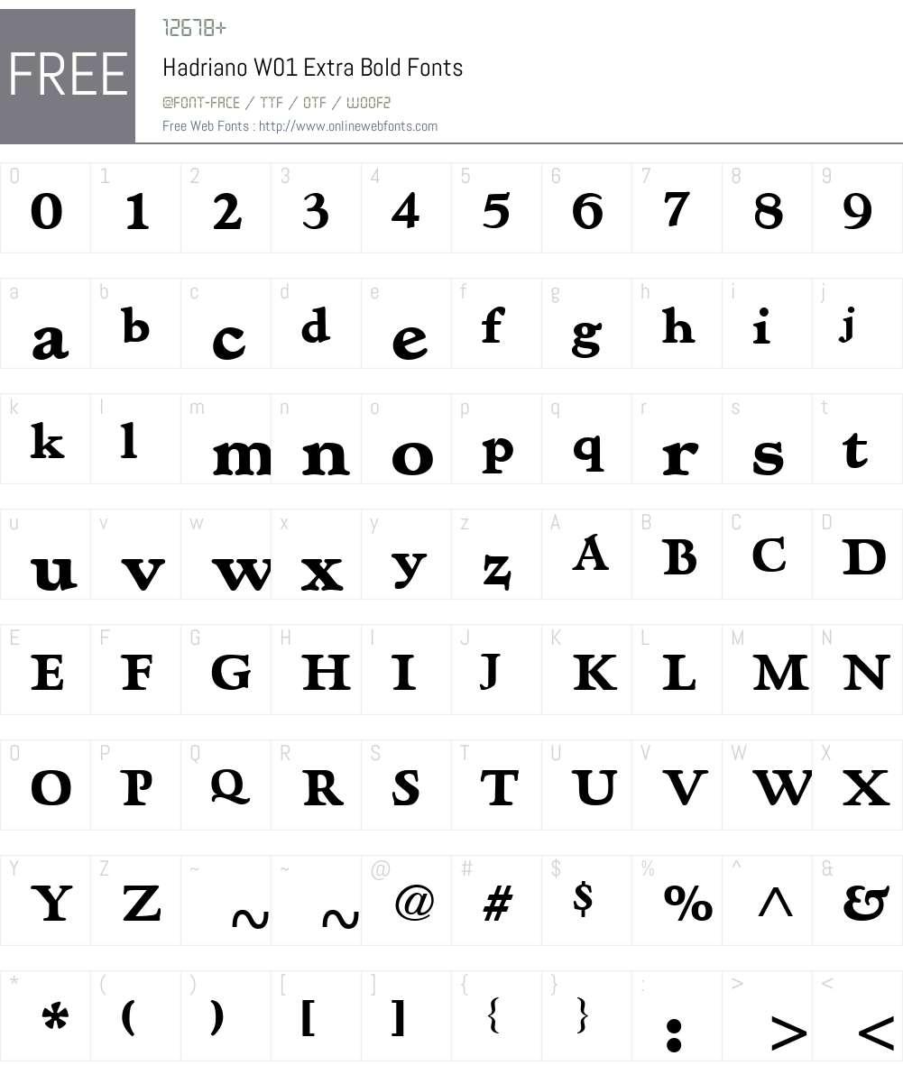 HadrianoW01-ExtraBold Font Screenshots