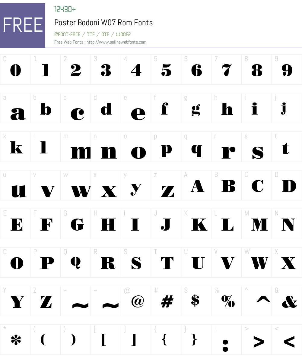 Poster Bodoni Font Screenshots