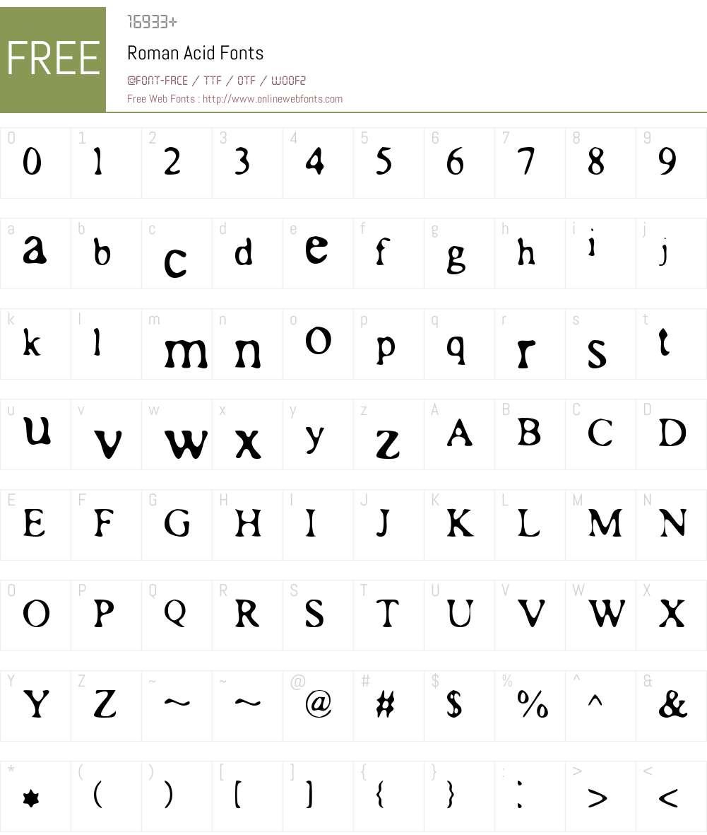 Roman Acid Font Screenshots