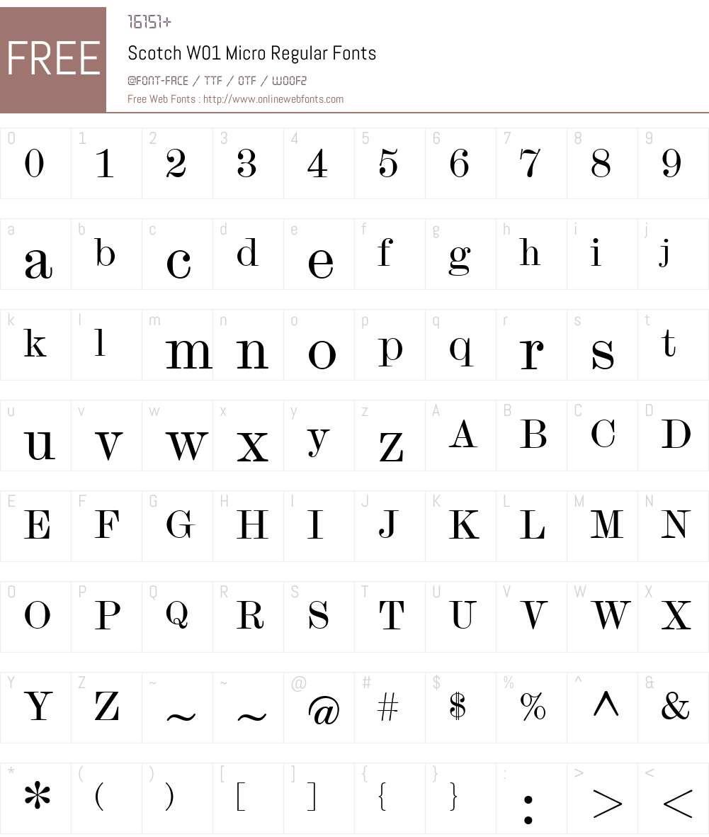 ScotchW01-MicroRegular Font Screenshots
