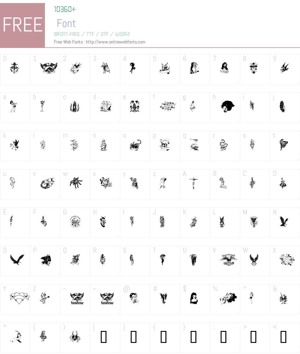 TattooParlour Font Screenshots