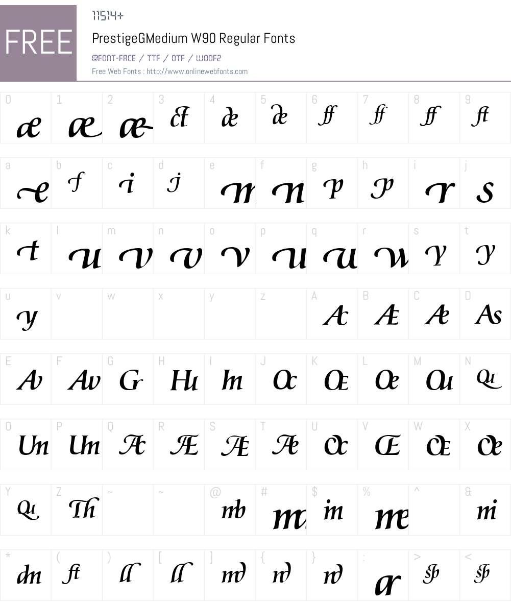 PrestigeGMediumW90-Regular Font Screenshots