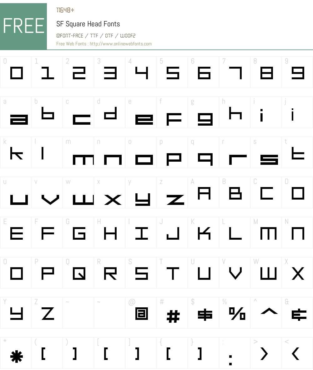 SF Square Head Font Screenshots