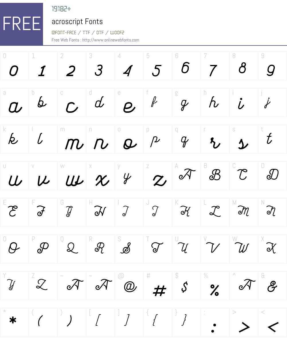 acroscript Font Screenshots