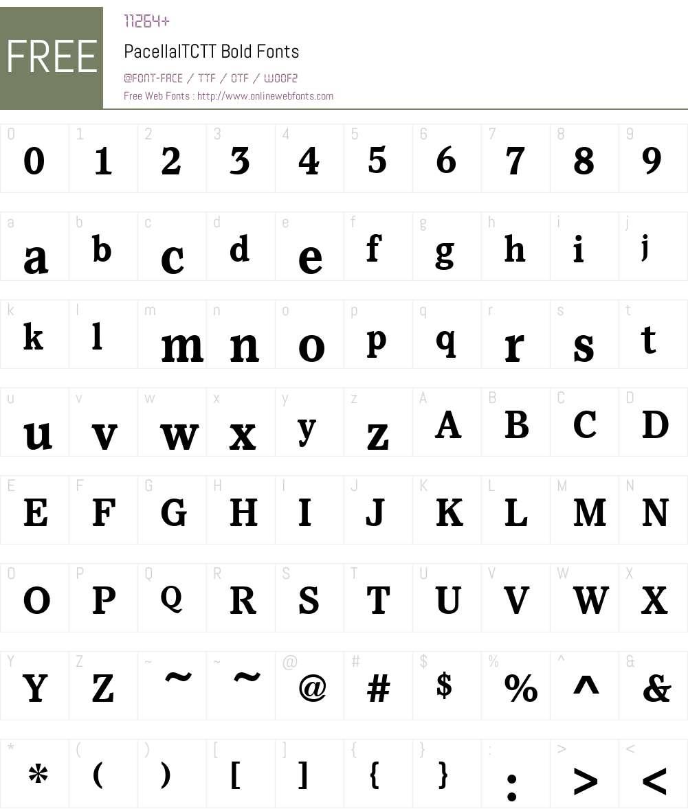 PacellaITCTT Font Screenshots