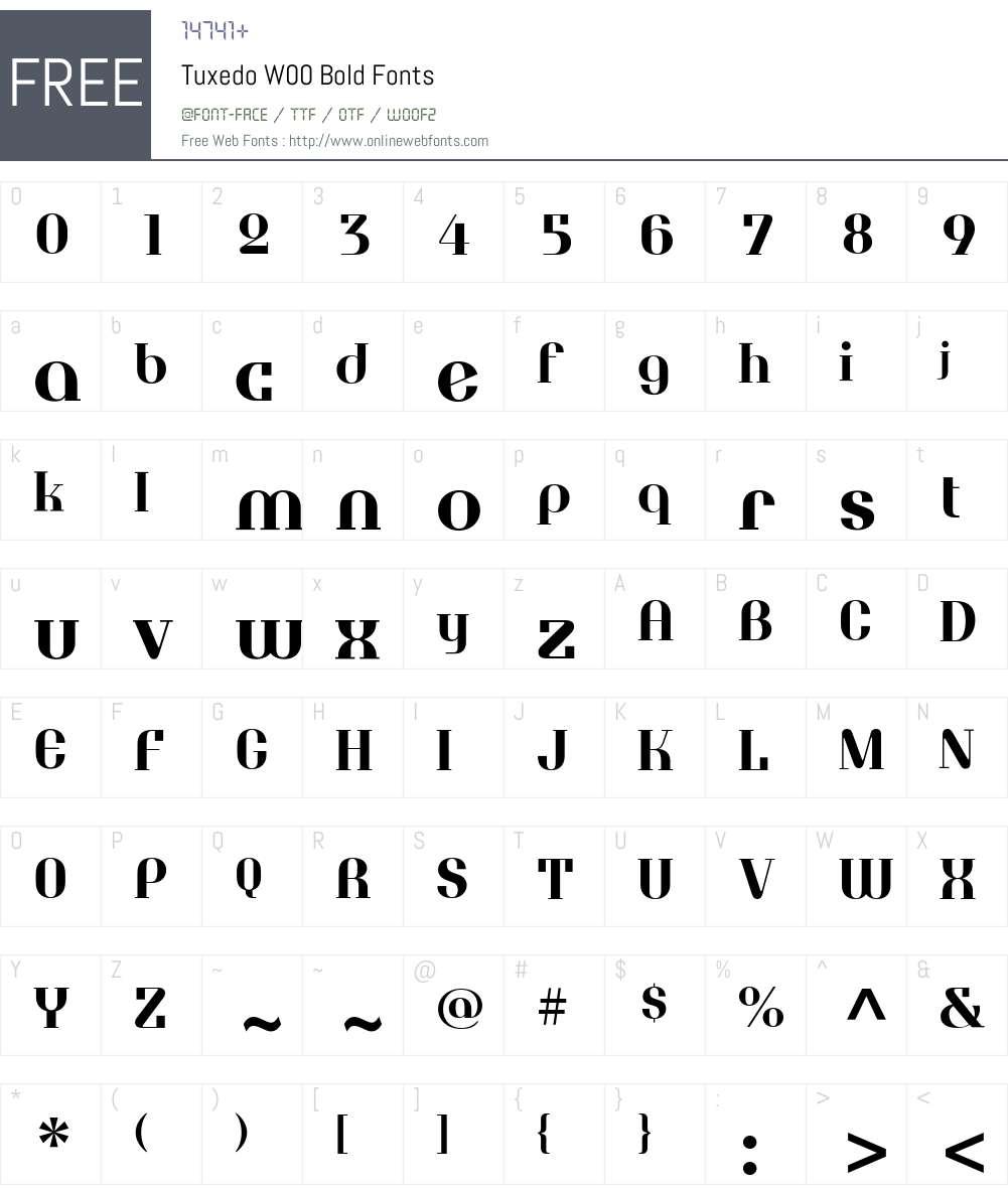 TuxedoW00-Bold Font Screenshots