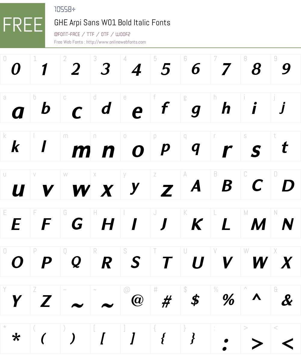 GHEArpiSansW01-BoldItalic Font Screenshots