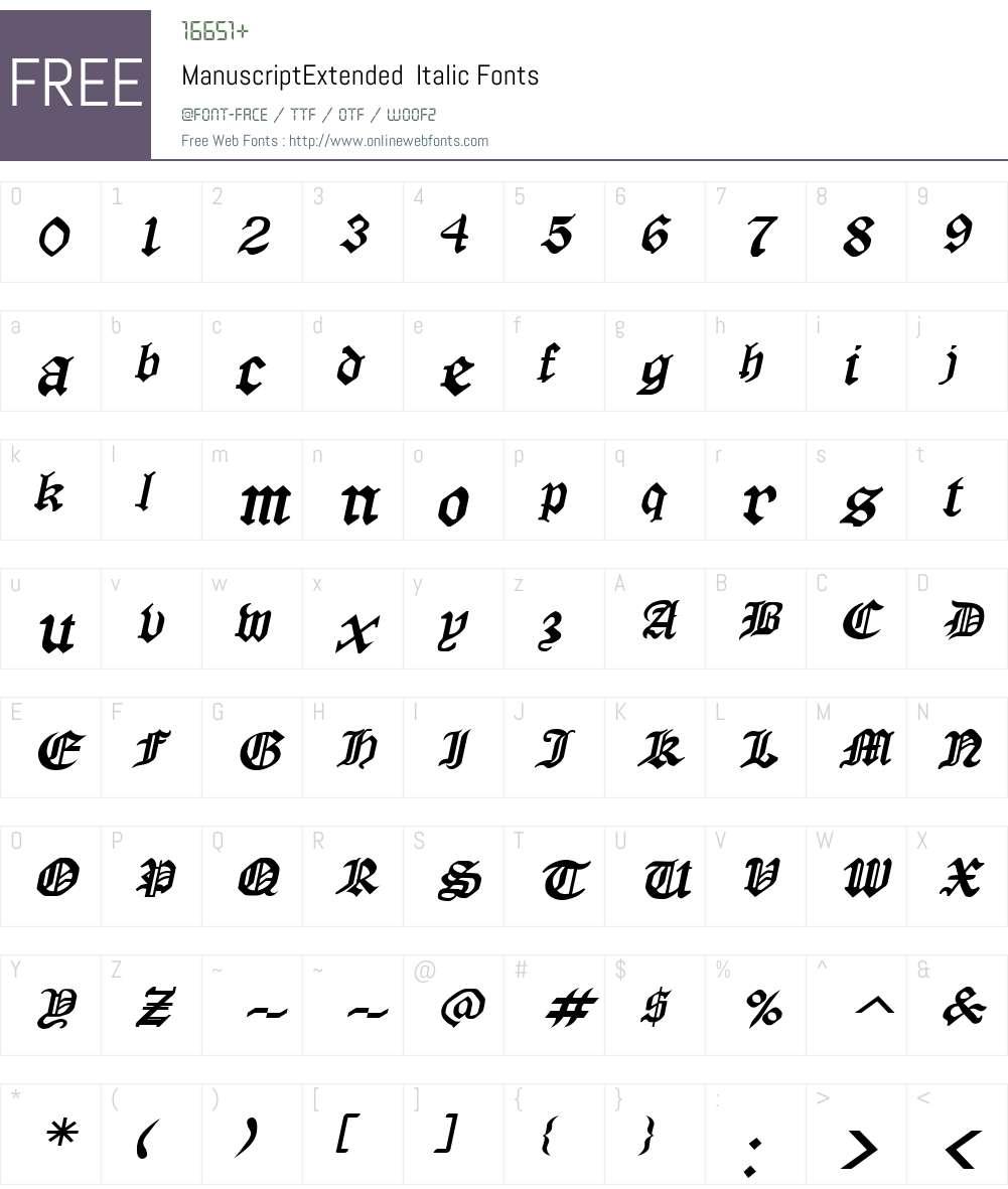 ManuscriptExtended Font Screenshots