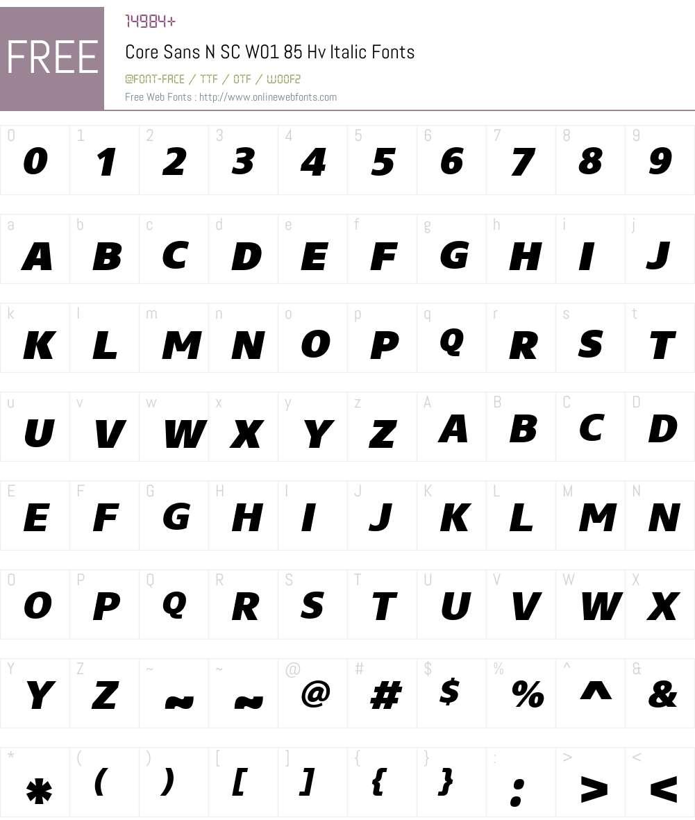 CoreSansNSCW01-85HvItalic Font Screenshots