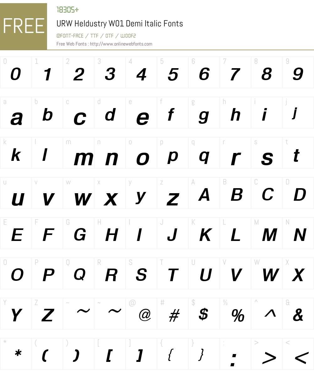 URWHeldustryW01-DemiItalic Font Screenshots
