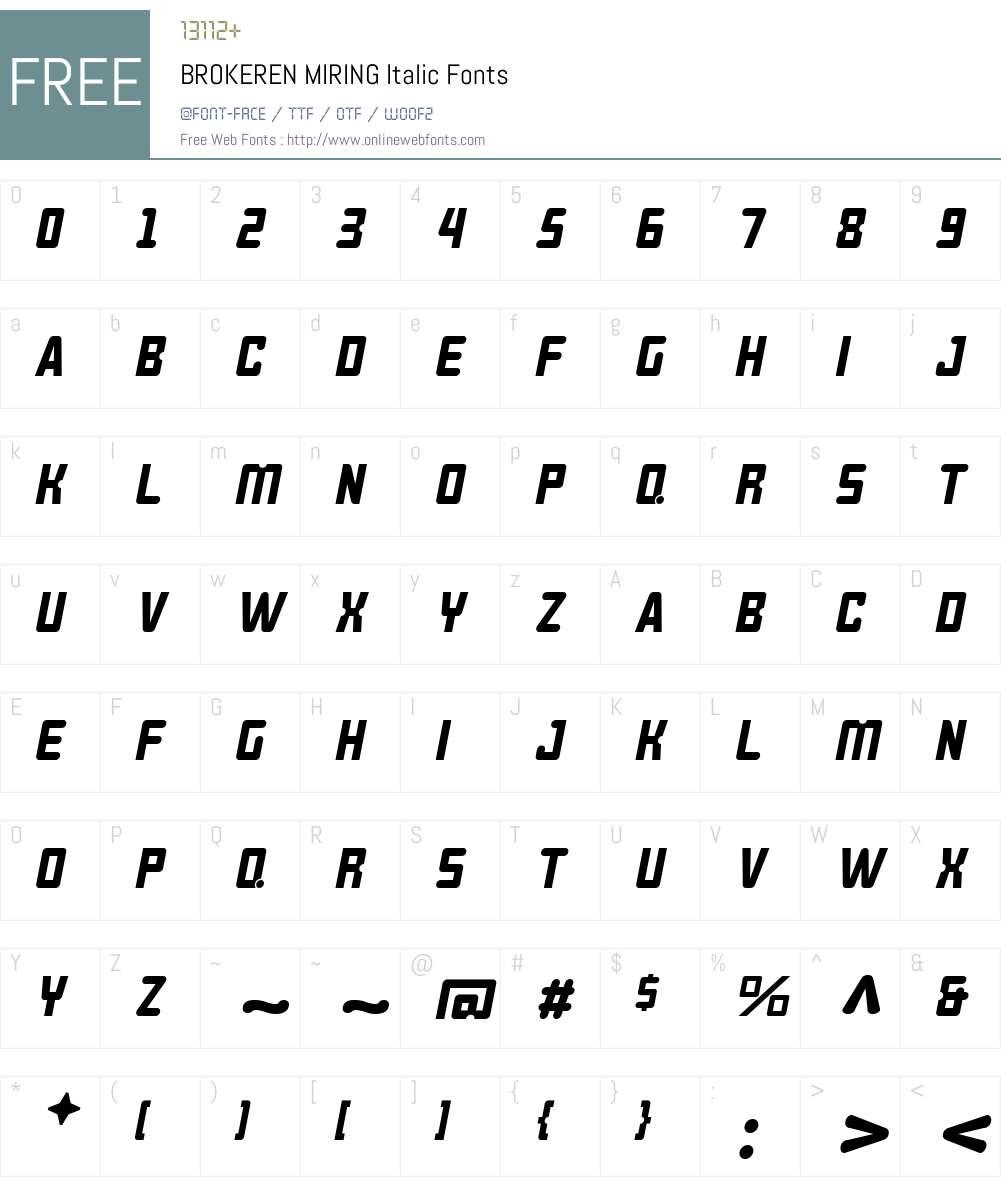 BROKEREN MIRING Font Screenshots
