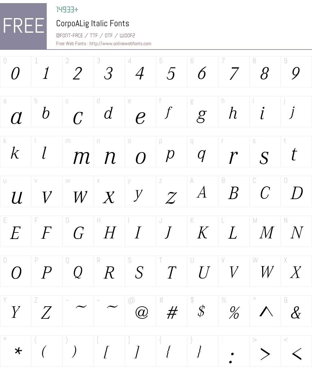 CorpoALig Font Screenshots
