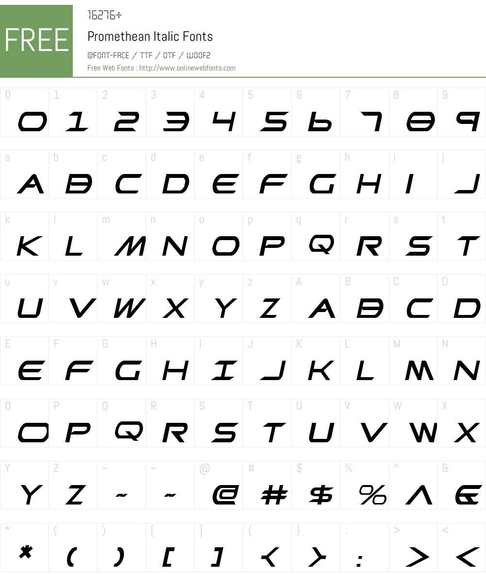 Promethean Italic Font Screenshots