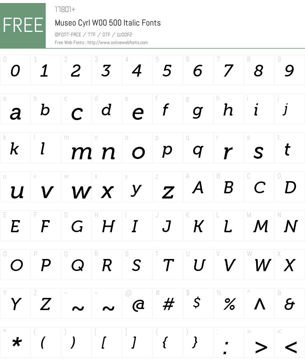 MuseoCyrlW00-500Italic Font Screenshots
