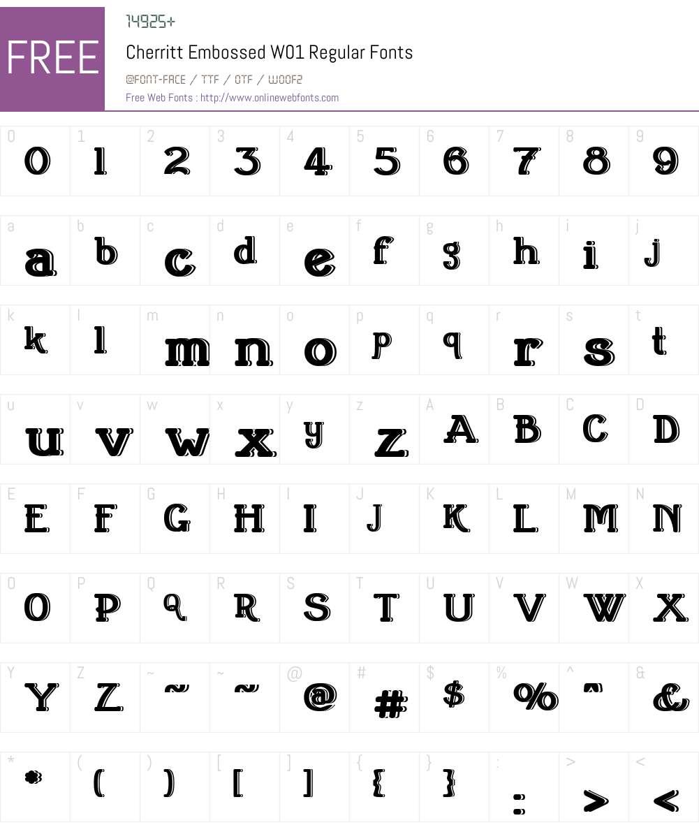 CherrittEmbossedW01-Regular Font Screenshots