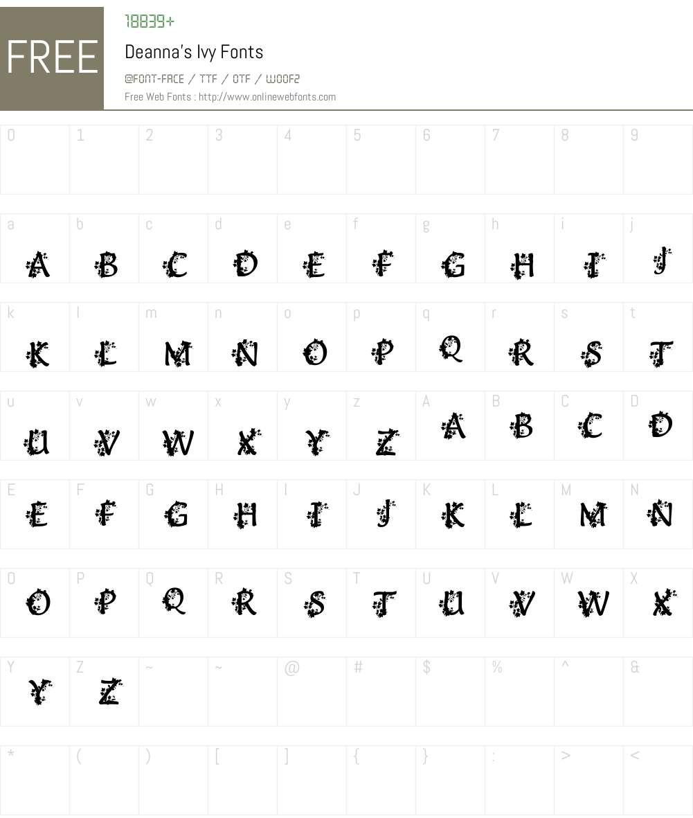 Deanna's Ivy Font Screenshots