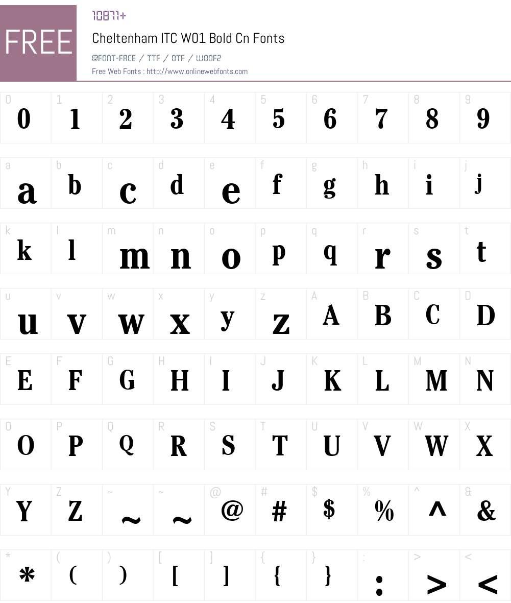 CheltenhamITCW01-BoldCn Font Screenshots
