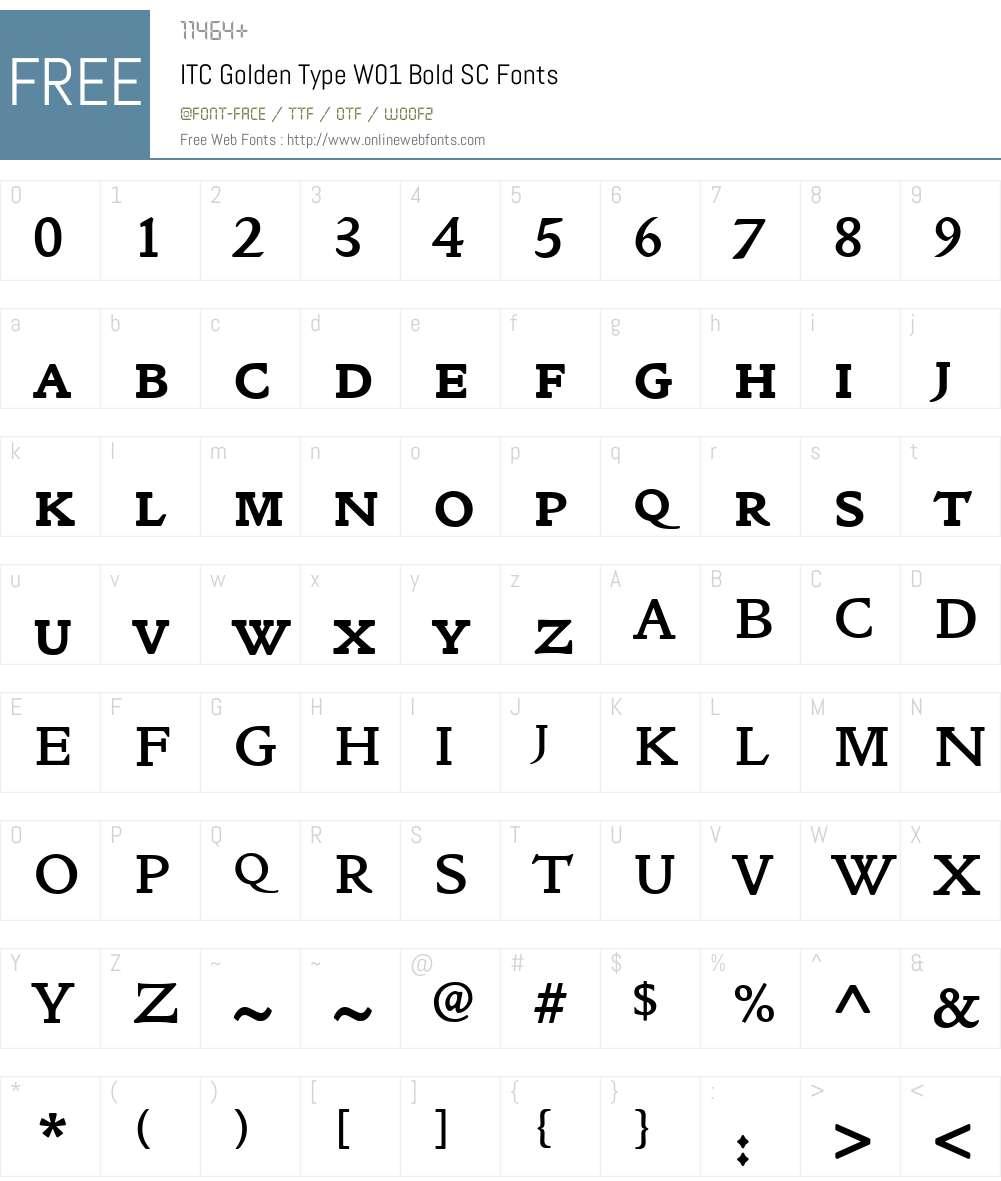ITC Golden Type Font Screenshots