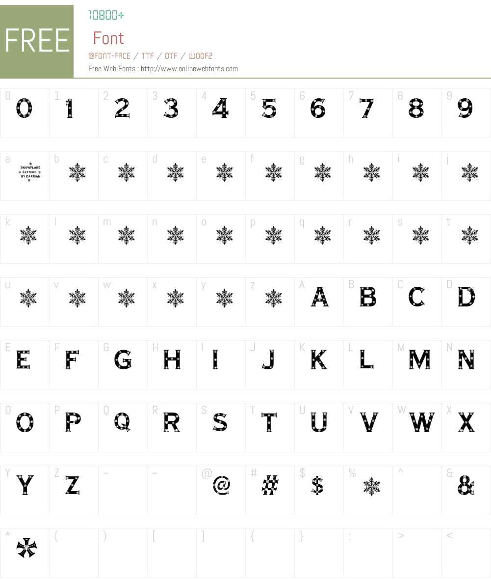 Snowflake Letters Font Screenshots