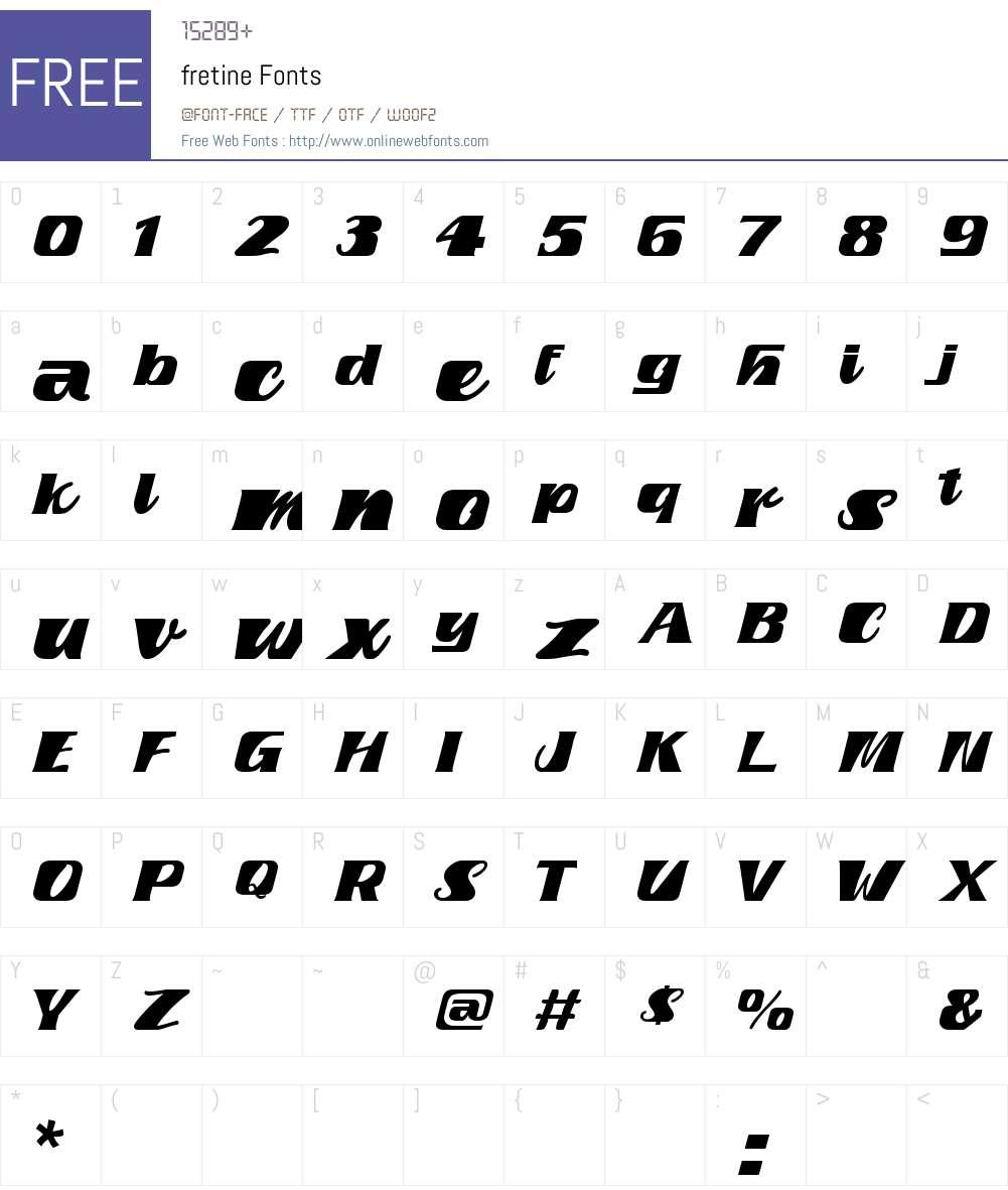 fretine Font Screenshots