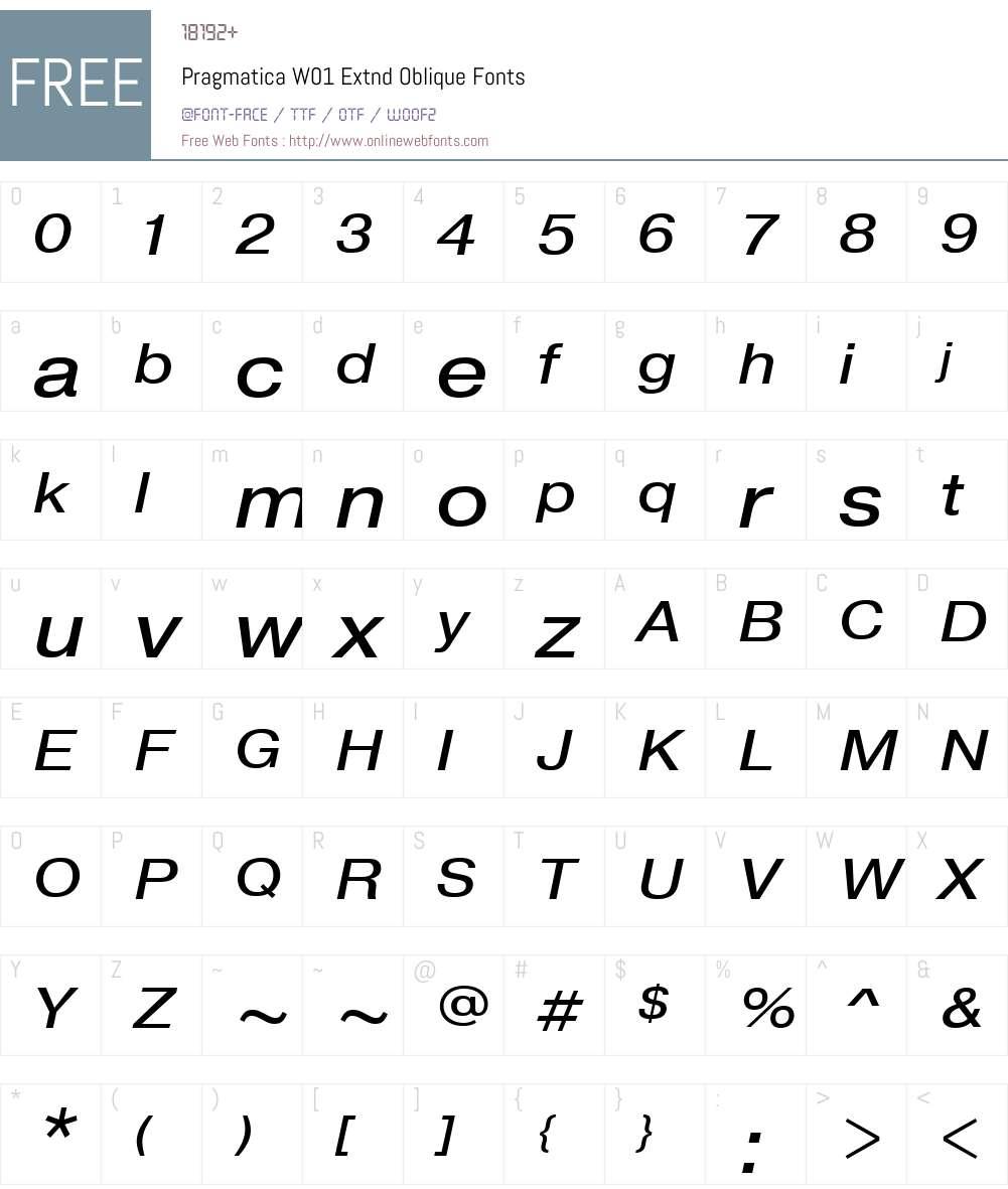 PragmaticaW01-ExtndOblique Font Screenshots