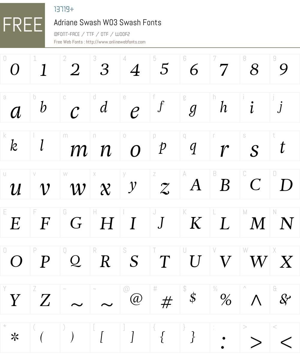 Adriane Swash Font Screenshots