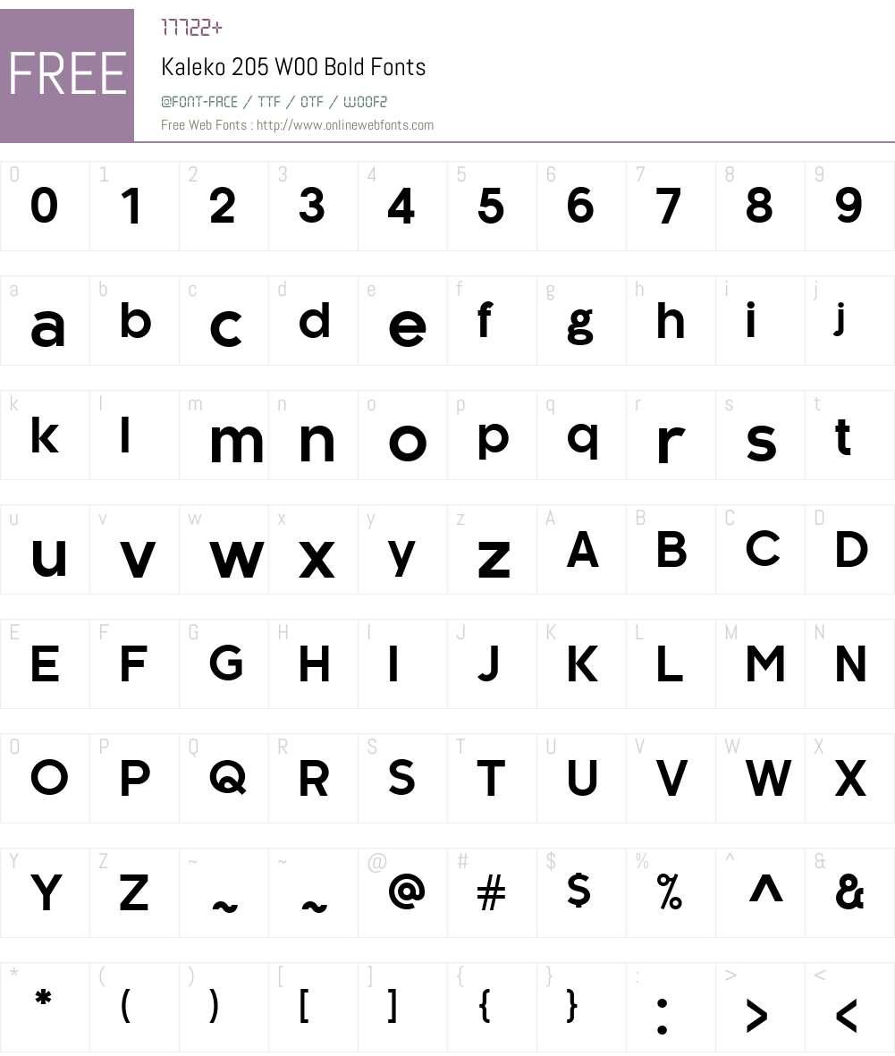 Kaleko205W00-Bold Font Screenshots