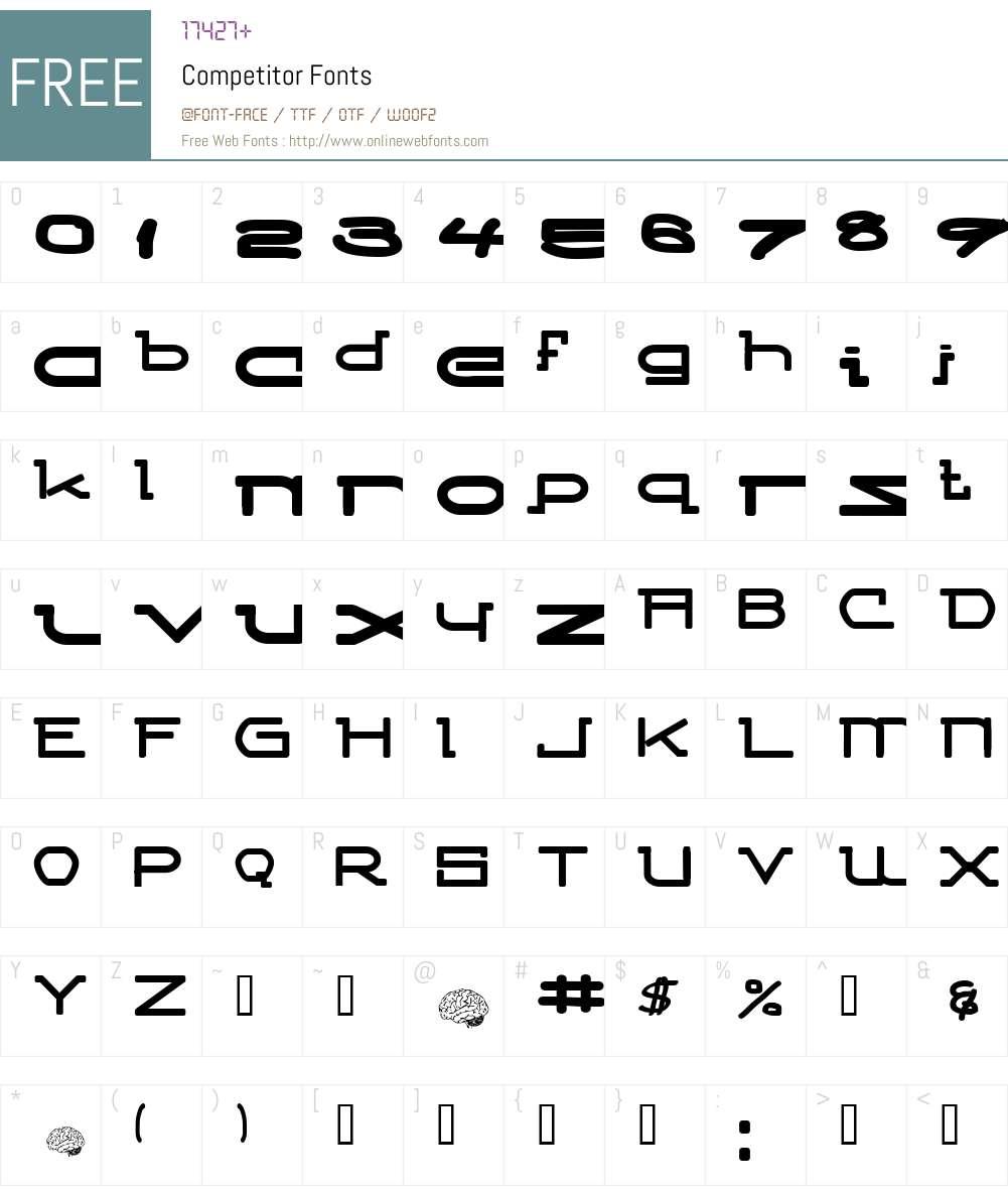Competitor Font Screenshots