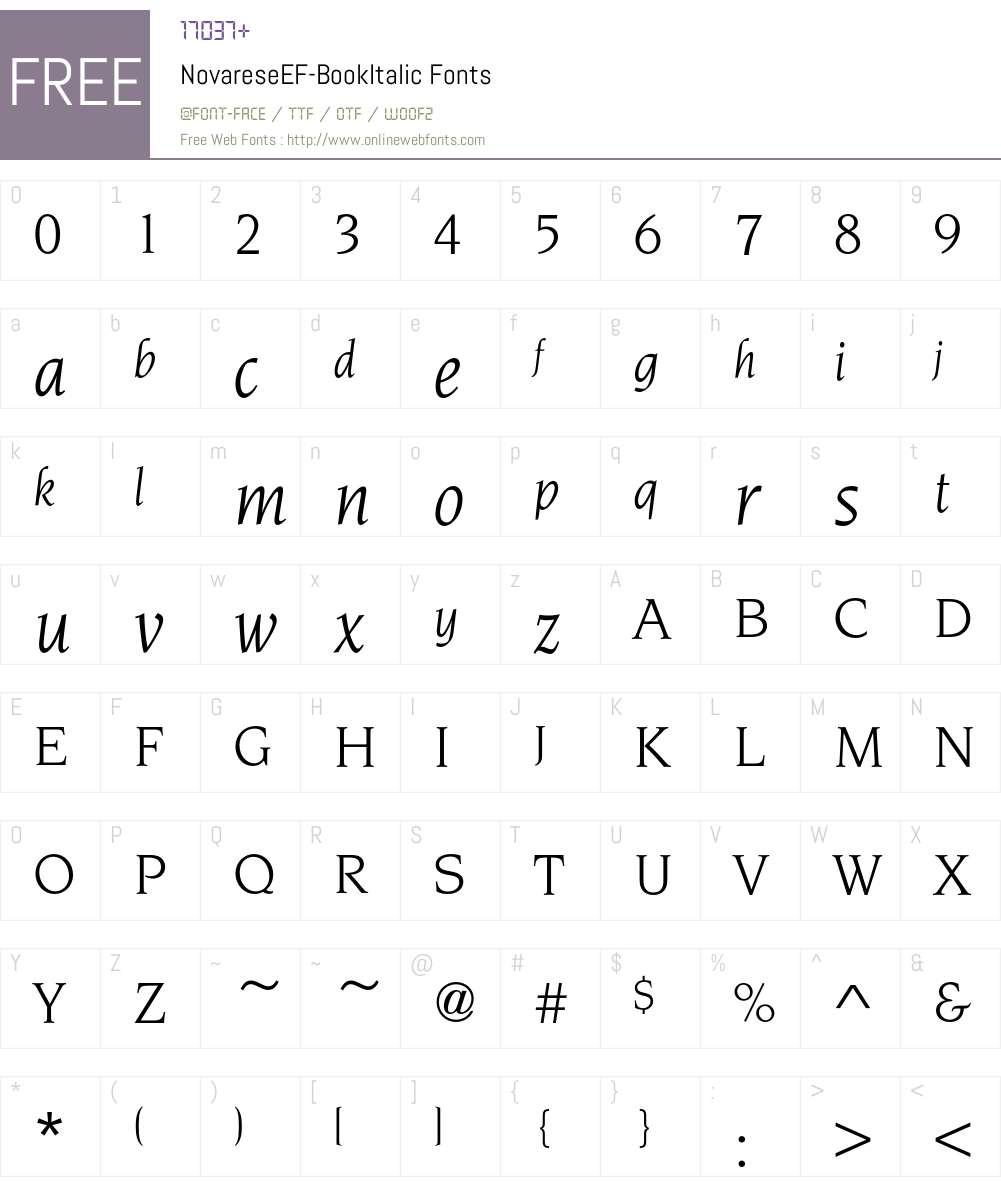NovareseEF-BookItalic Font Screenshots