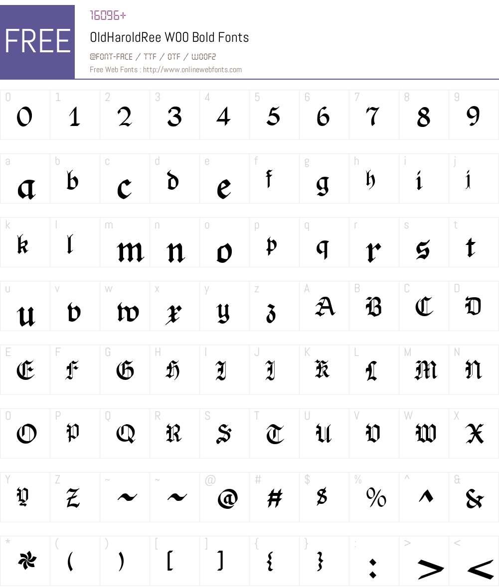 OldHaroldReeW00-Bold Font Screenshots