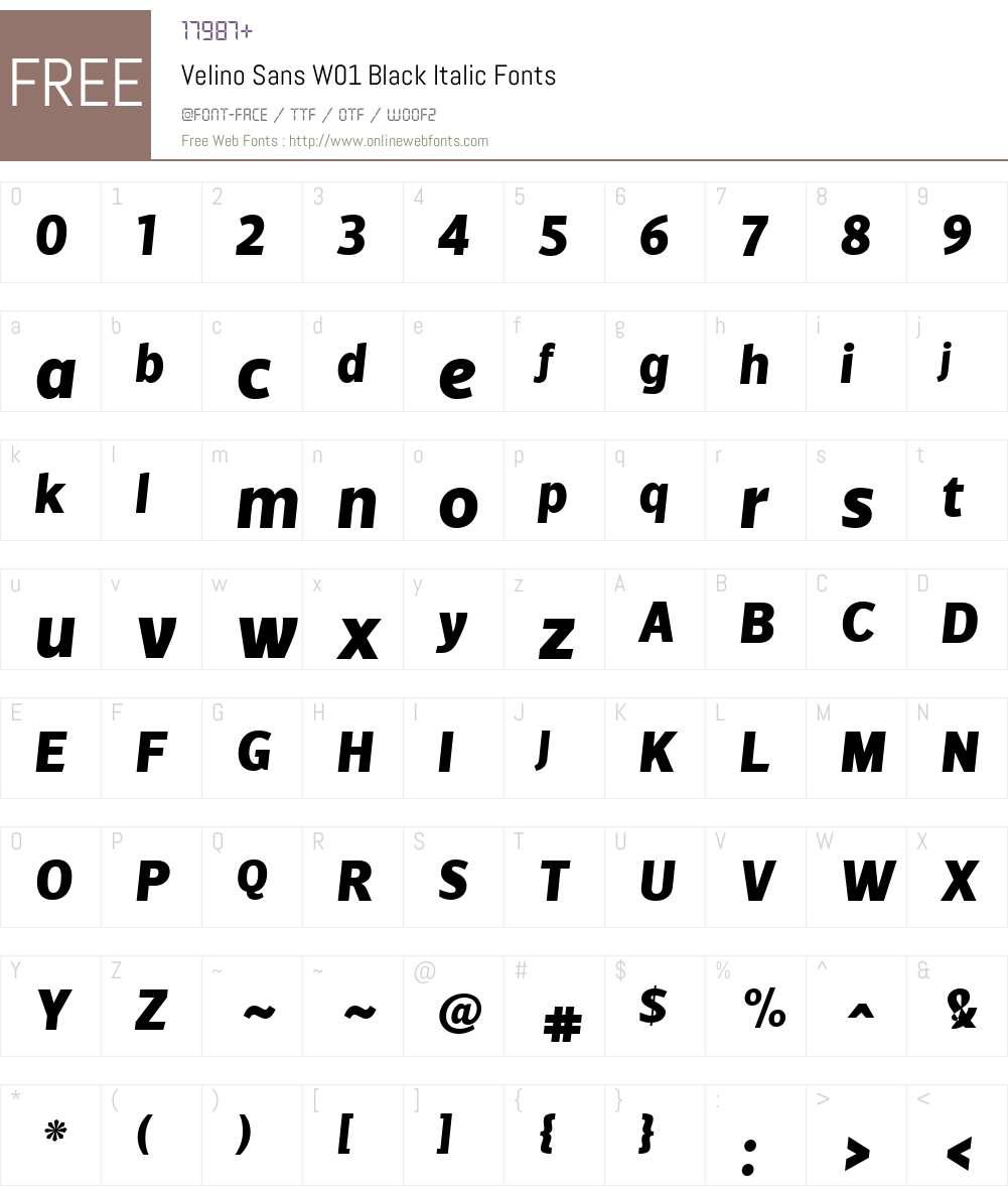 VelinoSansW01-BlackItalic Font Screenshots