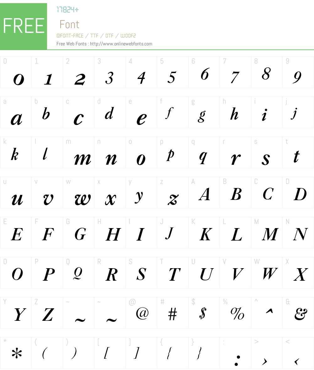 CaslonBoldZH-Italic Font Screenshots