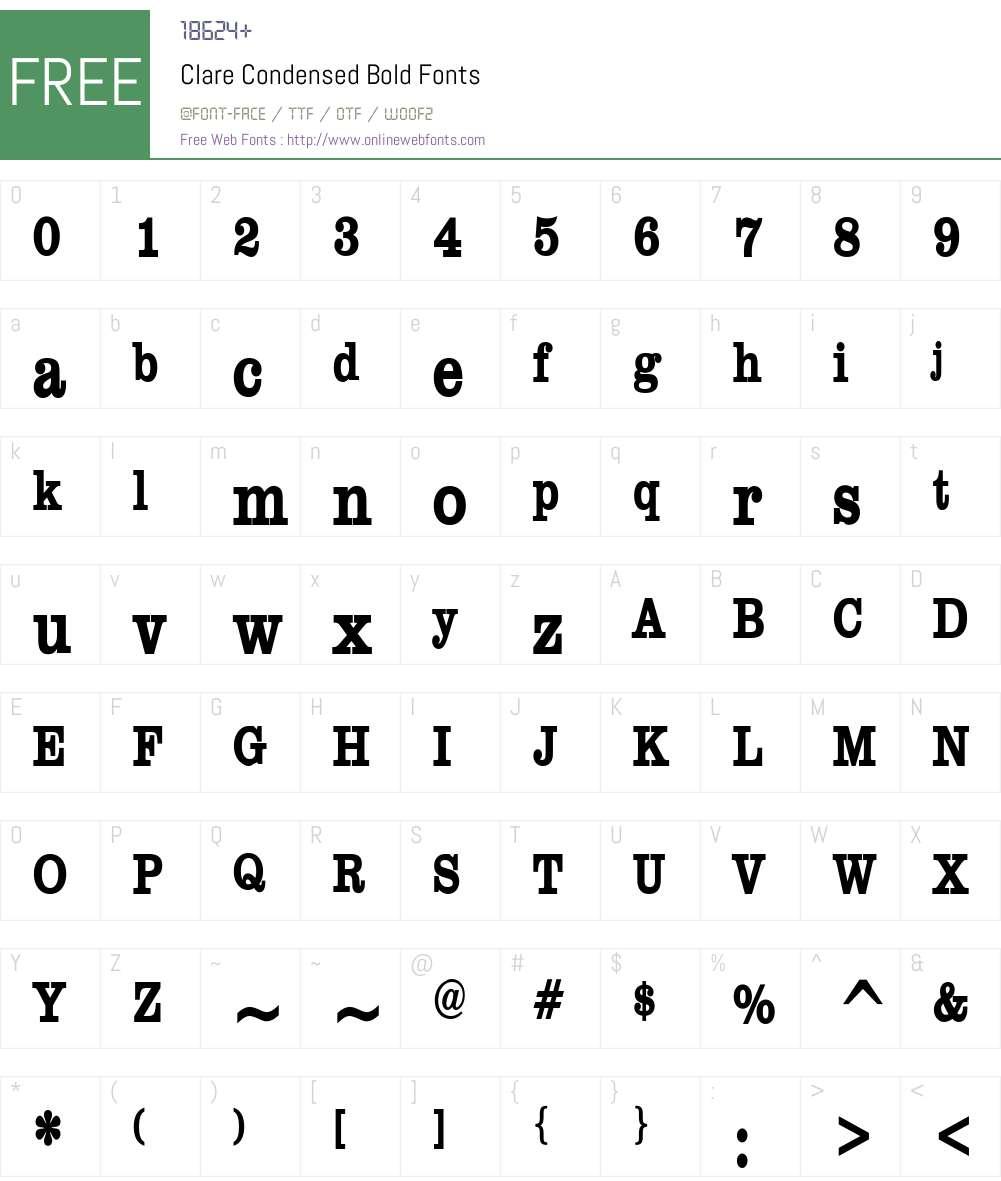 Clare Condensed Font Screenshots