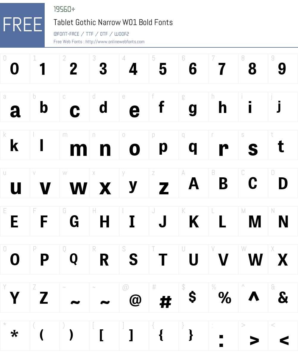 TabletGothicNarrowW01-Bold Font Screenshots