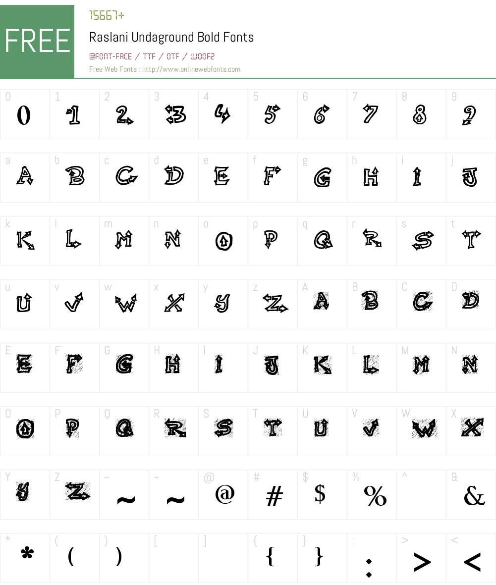 Raslani Undaground Font Screenshots