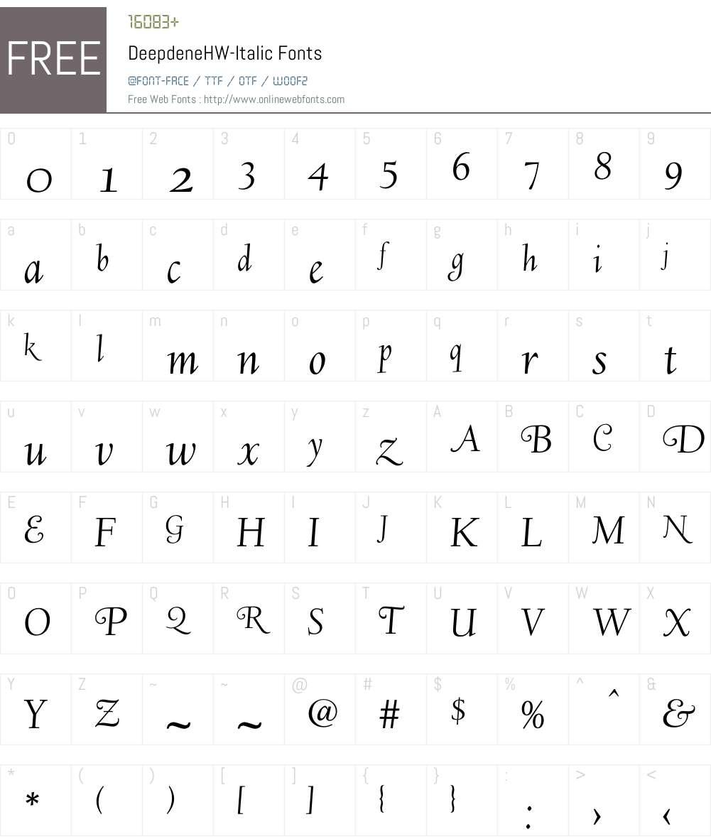 Deepdene Font Screenshots