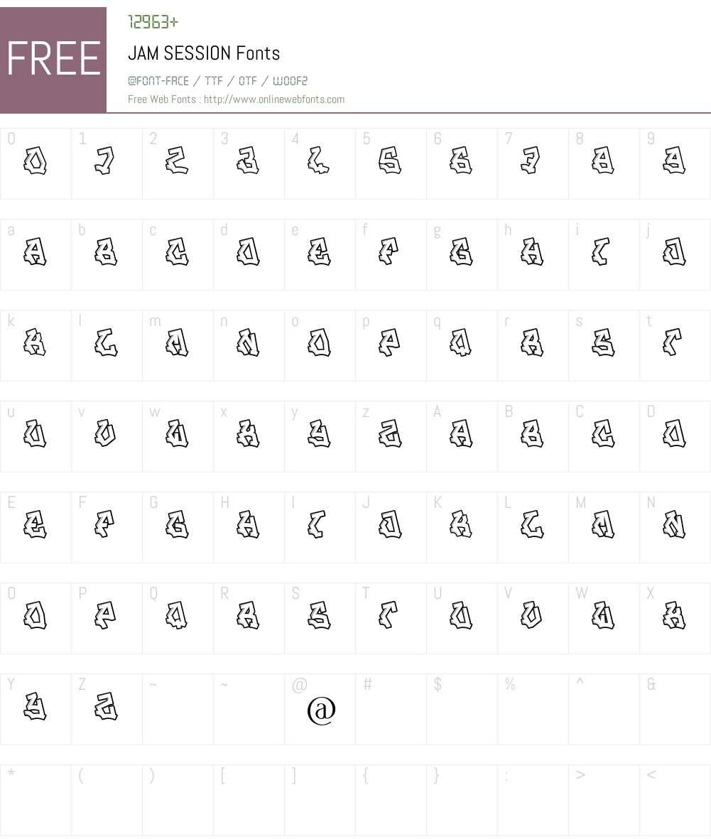 JAM SESSION Font Screenshots