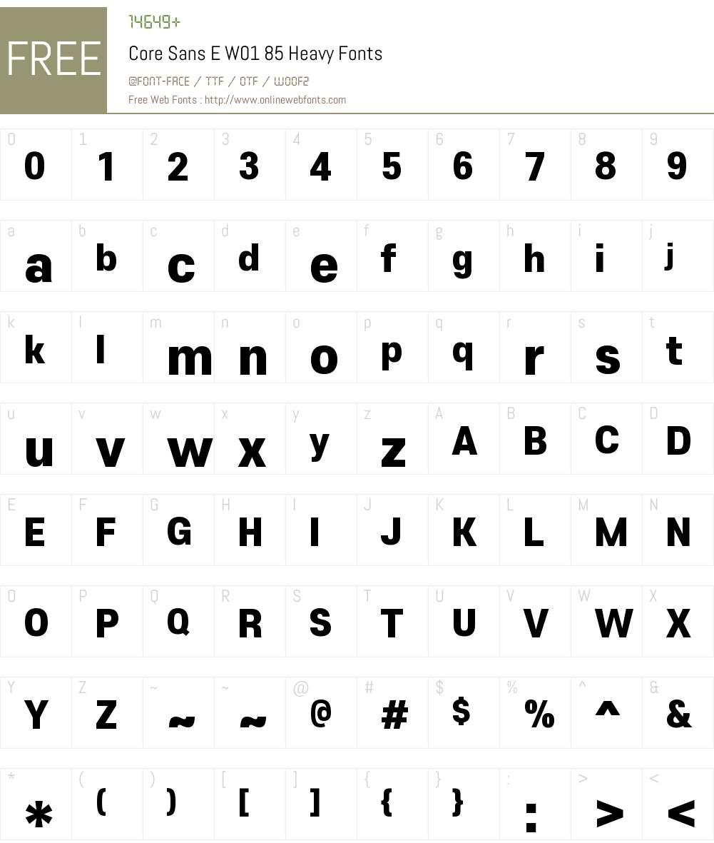 CoreSansEW01-85Heavy Font Screenshots