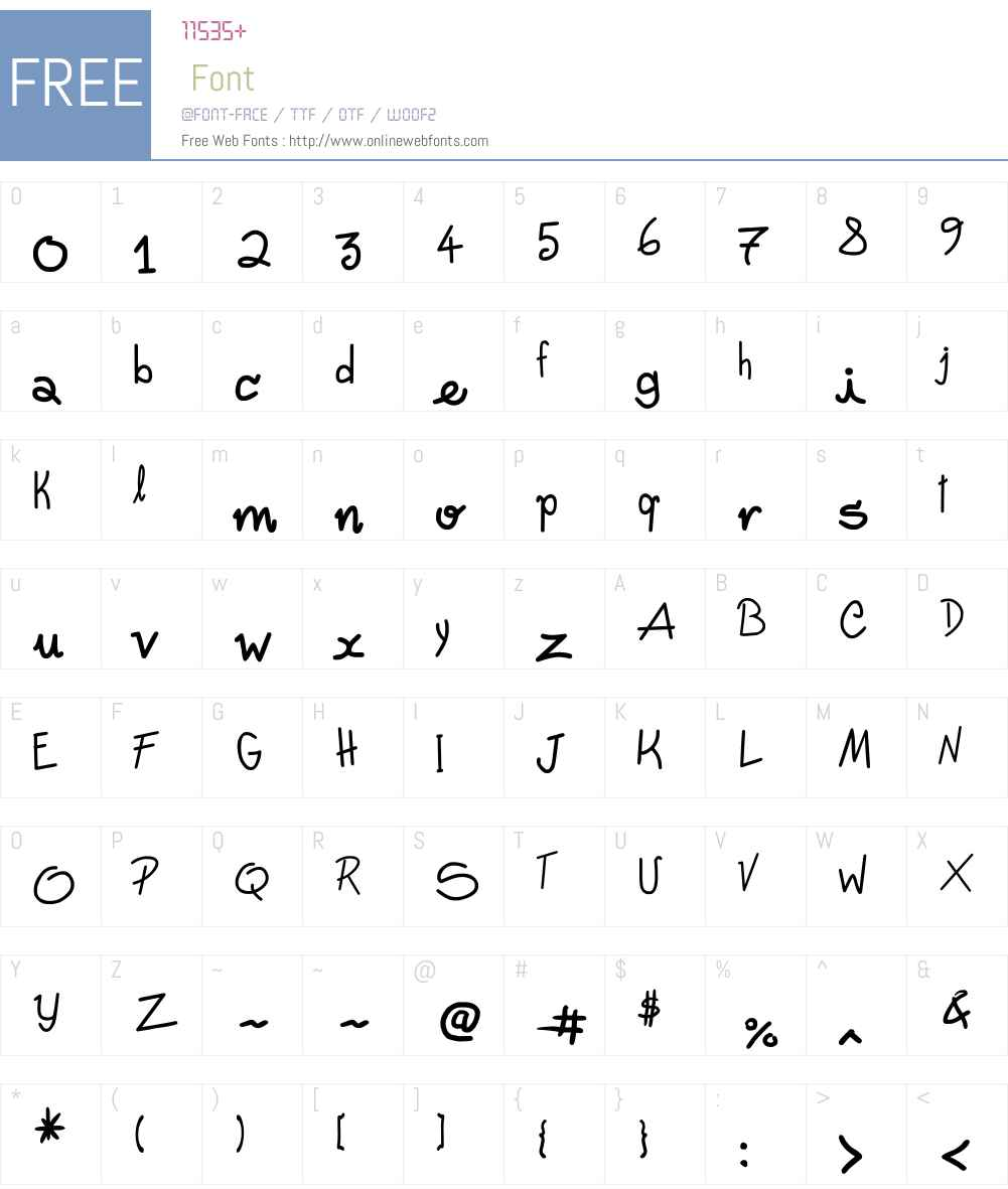 Freehand Written Font Screenshots