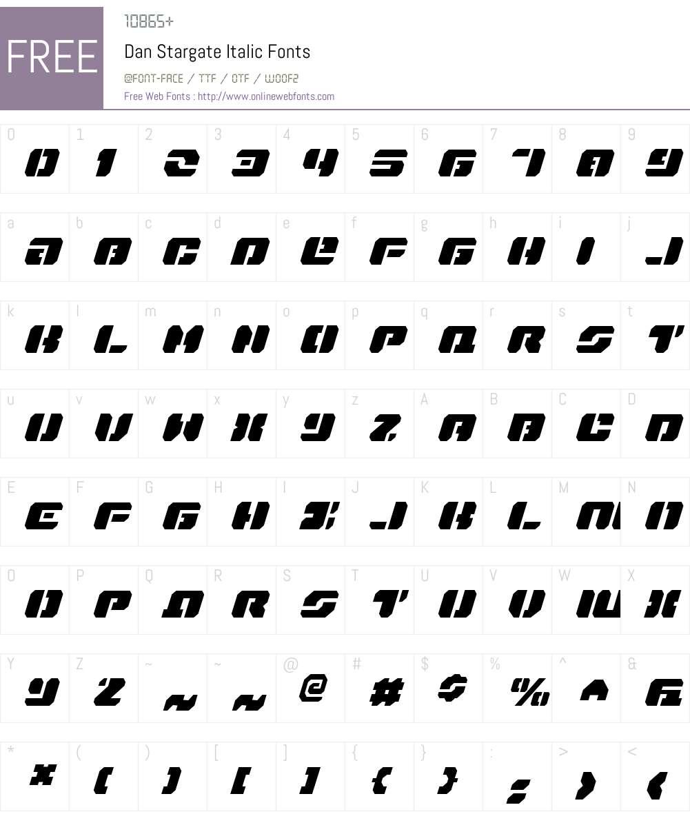 Dan Stargate Italic Font Screenshots