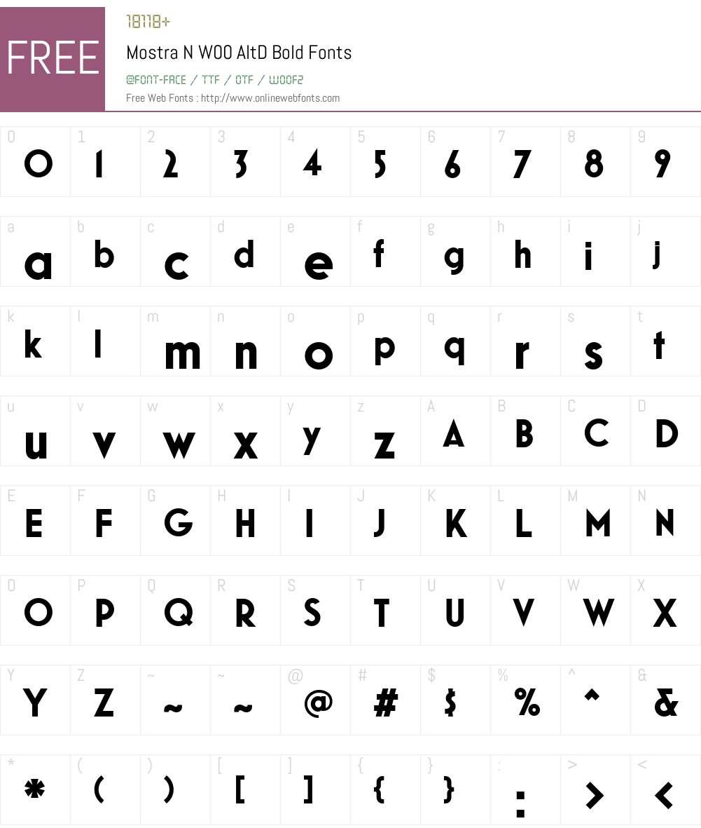 MostraNW00-AltDBold Font Screenshots