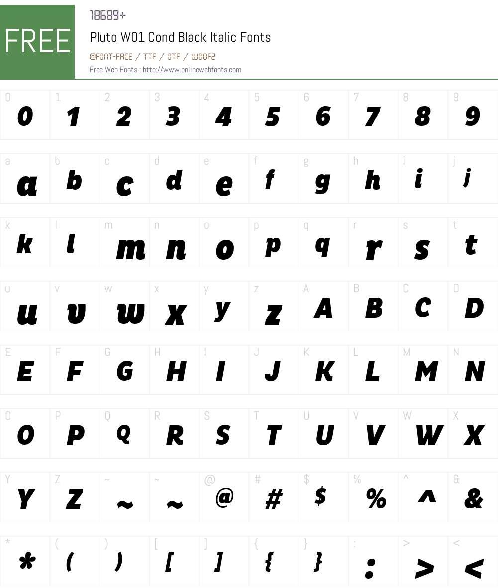 PlutoW01-CondBlackItalic Font Screenshots